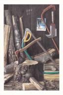 Le Bûcher - Peinture à L´huile De Pierre Chaumont - Outils - Scie - Hache - 1988 - - Artisanat