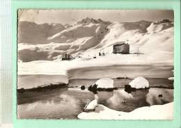 MV523 - TIGNES (Savoie) Le Lac Et Les Champs De Ski En Hiver (voir Détails 2scan) RARE N&B Voyagé Années 1950-60 - Otros Municipios
