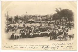 29 - CONCARNEAU - La Place D'Armes Le Jour Du Pardon - Coll. ND Phot N° 29 Précurseur Nuage Voyagé 1903 - Concarneau