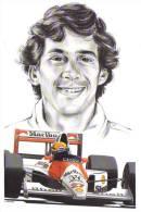 Ayrton Senna  -  McLaren   - Artwork By Clovis -  Art Card - Motorsport