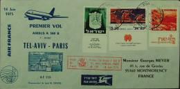 Israel - Nice FFC Air France 1975 Meter Arrival At Back - Israel