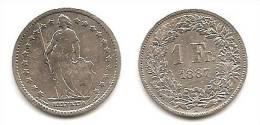 Lot Pièce 1 Franc Suisse Argent 1887 - Suiza