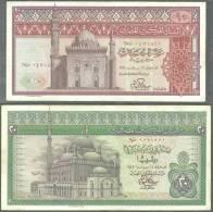 EGYPT CENTRAL BANK LOT SET 20 & 10 POUNDS / POUND 1976 & 1978-Pick 48 & 46 Both SIGN M A FATTAH IBRAHIM - EGYPTE BILLET - Egipto
