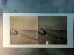 85 - SABLES-D´OLONNE - Photo Stéréo Sur Carton - La Plage - - Photos Stéréoscopiques