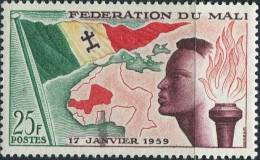 AS1686 Mali 1959 Youth Flag Map 1v MNH - Timbres