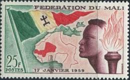 AS1686 Mali 1959 Youth Flag Map 1v MNH - Briefmarken
