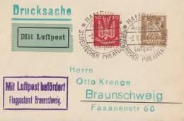 DR Karte Luftpost Mif Minr.345,355 SST Hamburg 2.8.25  31.dt. Philatelistentag - Deutschland
