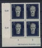DDR Michel No. 607 - 608 ** postfrisch MNH Viererblock Eckrand links unten