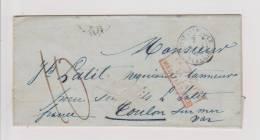 Marque D´entrée Paquebots De La Méditéranée + Type 15 De Constantinople Du 2 Août 1855 - Marcofilie (Brieven)