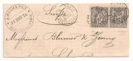 Lettre - SEINE - PARIS - Càd T.18 S/Paire TP N°66 - 1876 - 1876-1878 Sage (Type I)