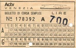 VENEZIA A.C.N.I.L. CORSA SEMPLICE MOTOSCAFO LIRE 700 1983 - Biglietti Di Trasporto
