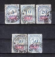 I. WK Militärverwaltung In Rumänien Porto 1-5 Gest. Kompl. Satz !!! - Besetzungen 1914-18
