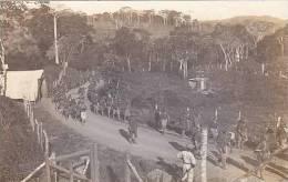 Panama Soldiers Marching Road Real Photo - Panama