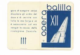 DB495-TESSERA OPERA NAZIONALE BALILLA N.0287082-ANNOXII° - Autres Collections