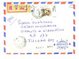 VEND TIMBRE DE MADAGASCAR N° 1305 , SUR LETTRE RECOMMANDEE AVEC A.R. ( CACHET ) !!!! - Madagascar (1960-...)