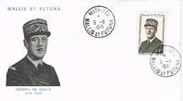 Wallis Et Futuna Enveloppe Premier Jour FDC General De Gaulle YT181 Côte 17 Cad Mata Utu Us Courant - FDC