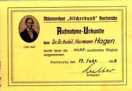 """DV 521) Aufnahme-Urkunde Männerchor """"Silcher Bund"""" Karlsruhe 1948 - Musik"""
