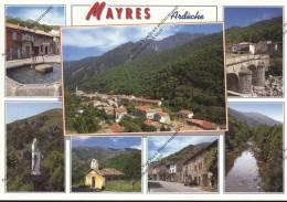 MAYRES  Ardèche 07   Vue Générale Du Village Fontaine Vierge Madone Chapelle Rue Pont Rivière - Frankreich