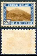 BELGIAN CONGO 1938 Volcano Karisimbi 2f.50 Brown And Blue, VF Unused - Volcanos