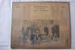 CALENDRIER - ANNEE 1911 - ILLUSTRATION -VISITE AU MUSEE DE TOULOUSE- FEMMES ET HOMMES ELEGANTS -ENFANTS- FEUILLET AU DOS - Grand Format : 1901-20