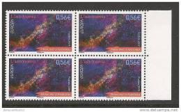 """ANDORRA FRANCESA - EUROPA 2009 - TEMA """"ASTRONOMIA"""" - SERIE De 1 V..en BLOC De 4 - DENTADO (PERFORATED) - Europa-CEPT"""