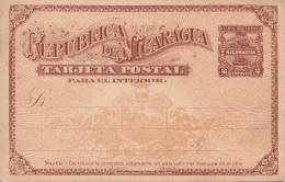 Nicaragua, 2 Centavos Ganzsache Auf Pk UPU 1890 Als GS Mit 2 Centavos Nicht Gelaufen - Nicaragua