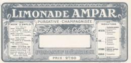 Tres Vielle Publicité Etiquette Limonade AMPAR Purgative Champagnisée St Etienne - Publicité