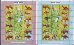 BURUNDI - ANIMALS RIVER NILE - BIRD, RHINOCEROS, CAMELS,ZEBRA, WATERFALS - CTO - 1970 - Francobolli