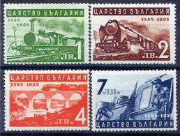 BULGARIA 1939 Railway Anniversary Set MNH / **.  Michel 354-57 - Trains
