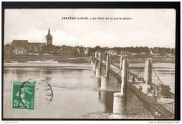 45 - JARGEAU - LE PONT DE LA LOIRE - AMONT - AVEC ATTELAGE - Jargeau