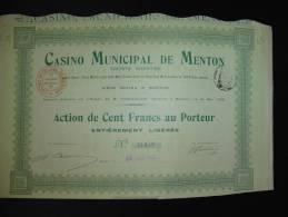 """Action""""Casino Municipal De Menton""""1908 Bon état,reste Des Coupons - Casino"""