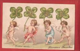 Q0315 Bonne Année, Petits Anges Avec Trèfles à Quatre,Engel. Précurseur. Circulé. - New Year