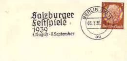 DV 589) Stempel Postmark Flamme Berlin !! 1939: Salzburger Festspiele (Austria Was Part Of 3. Reich) (s.Bild 2) - Musik