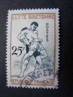 OBLITERE FRANCE ANNEE 1958 OBLITERATION RONDE N°1164 LUTTE BRETONNE SPORT JEUX TRADITIONNELS - Usati
