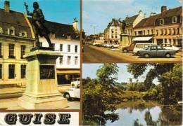 CPSM GUISE (Aisne) - 3 Vues : Camille Desmoulins, Place D'Armes, L'Oise Et La Tour De Guise - Magazines: Abonnements