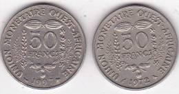 Etats De L'Afrique De L'Ouest 2 X 50 Francs 1997 Et 1972 - Monnaies