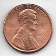 US.- Munten - USA 1 Cent 1990. Abraham Lincoln. 0.01 Dollarcent. United Status Of America. One Cent. - Andere - Amerika