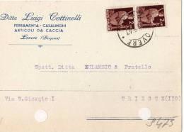 CARTOLINA POSTALE PUBBLICITARIA-DITTA LUIGI COTTINELLI-ARTCOLI DA CACCIA-LOVERE - BERGAMO=10-7-1947-A TRIESTE - 6. 1946-.. República