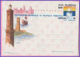 "San Marino - Interi Postali - Aerogramma - Aerogramme - GENOVA 92 - L. 850 - 1992 - Catalogo FILAGRANO ""A16"" - Nuovo - Poste Aérienne"