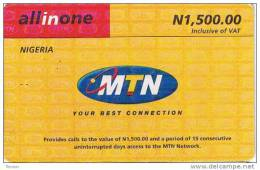 Nigeria, N 1,500.00, MTN Logo, 2 Scans.
