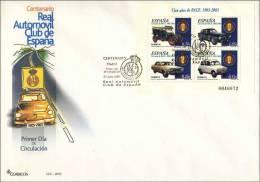 2003 España FDC 23x16 Cm. Real Automóvil Club De España RACE (Coche - Car) - Coches