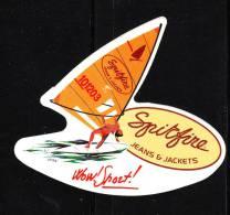 "Autoadesivo   "" Spitfire Jeans And Jackets "" .  Windsurf.  Raro - Sport"