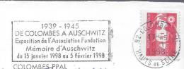 Histoire Déportation Deuxième Guerre Mondiale Colombes 1998 Mémoire D'Auschwitz - Postmark Collection (Covers)