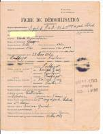Fiche De Démobilisation 29 Finistère Brest Cachet Bleu Compagnie  Pouldergat Quimper 403 Corps De Garde Chateaulin - Historische Dokumente