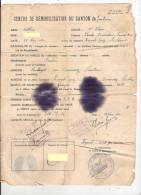 Démobilisation Gardanne 13 Bouches Du Rhône1941 Cachet Bleu Aix En Provence 29 Finistère Pouldergat Moulins Bahnhoh - Historische Dokumente