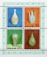 China Historsches Porzellan 1977 Korea 1621/4 Als Kleinbogen O 12€ Krug Und Vase Der Koryo-/Li-Dynastie Art Set Of Corea - Corea (...-1945)