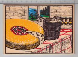 Fromage Et Lait / Käse Und Milch / Cheese And Milk - Carte Postale En Bois / Holz Postkarte / Wood Postcard - Cartes Postales