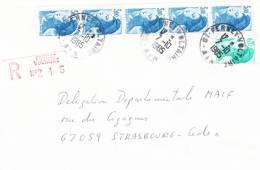 2320 X 5 + 2181 Obl. FERNEY VOLTAIRE Du 7.10.1985 = LR  Au Tarif Du 1.8.1985 - Marcofilia (sobres)