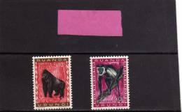 RUANDA URUNDI 1959 1961 MONKEY COLOBUS GORILLA ANIMALS SCIMMIA ANIMALI CENT. 10 + 40c MNH - Ruanda