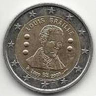 2 Euros Commémoratifs Belgique 2009 Louis Braille - Belgique